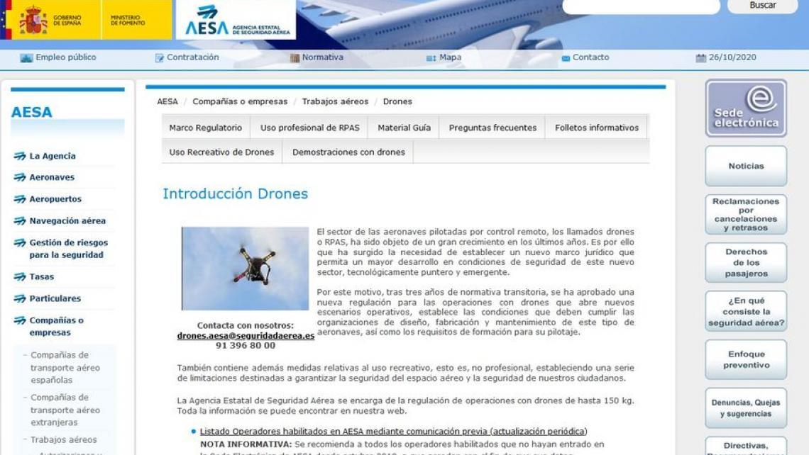AESA: Aclaración de dudas sobre la implantación de la nueva normativa Europea de UAS